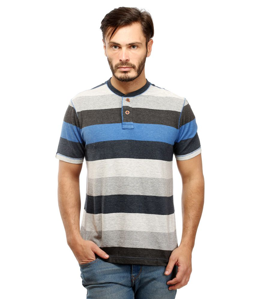 Red Tape Blue Henley Neck T Shirt