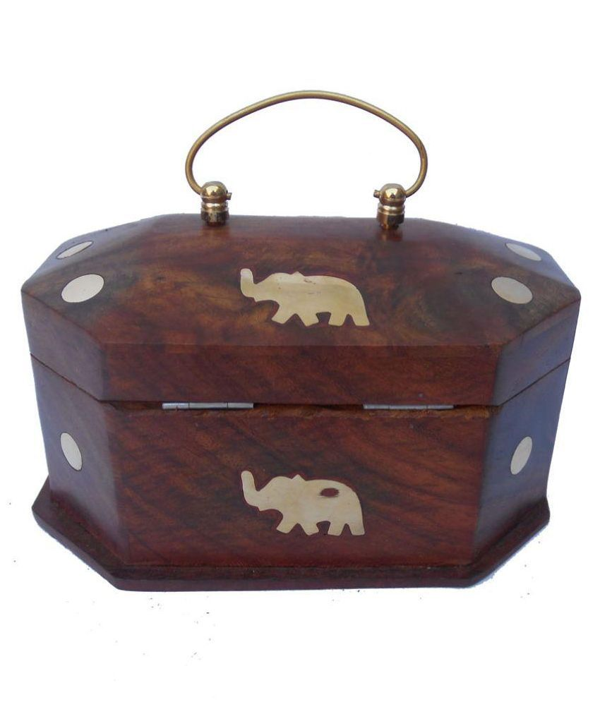 Antiqua V Group Wood Studded Brown Coloured Jewellery Box