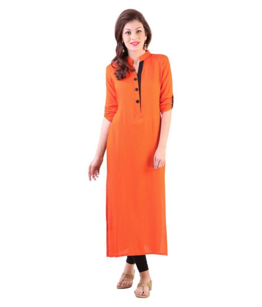 Poonam Fab. Orange Cotton Straight Kurti