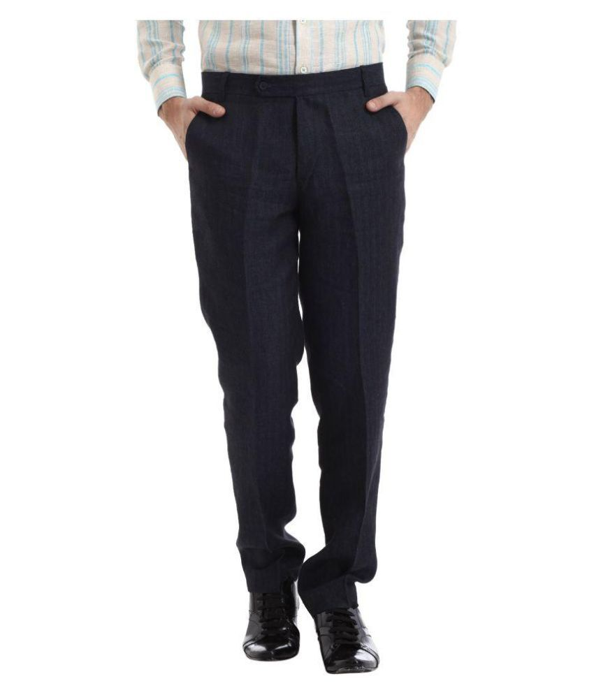 Yell Navy Regular Fit Flat Trousers