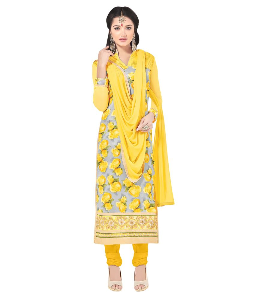 Apple Creation Yellow Bhagalpuri Silk Straight Semi Stitched Suit