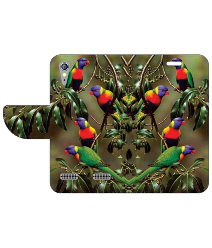 Printland Flip Cover For Lenovo A6000 Multi Color