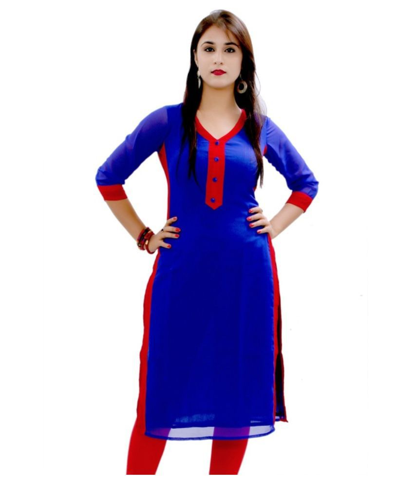 Sitaram Blue Georgette Straight Kurti