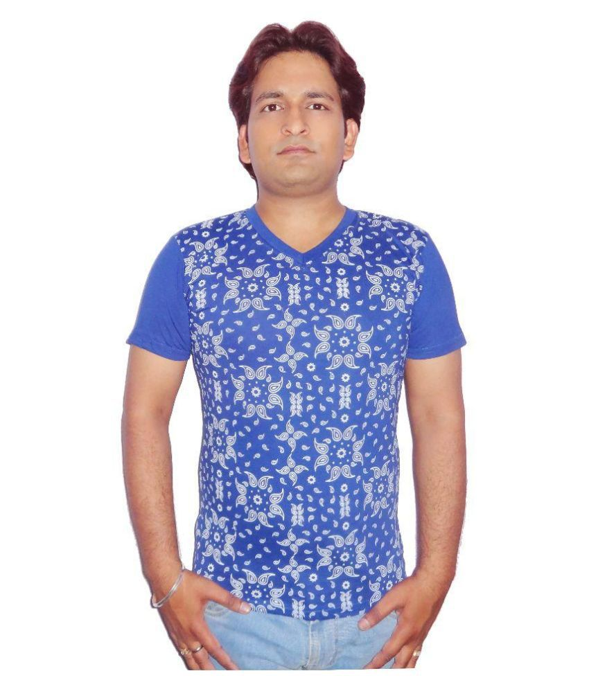 Fronex Blue V-Neck T Shirt