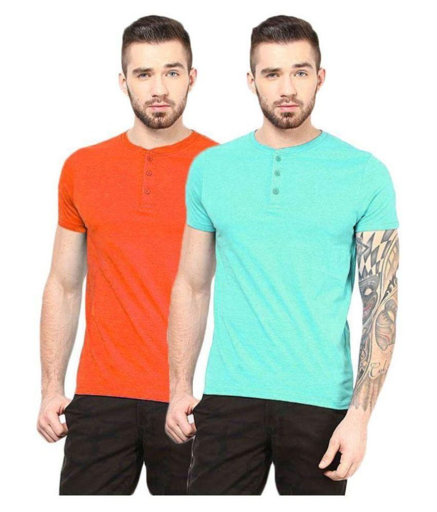 Gallop Multi Henley T Shirt Pack of 2