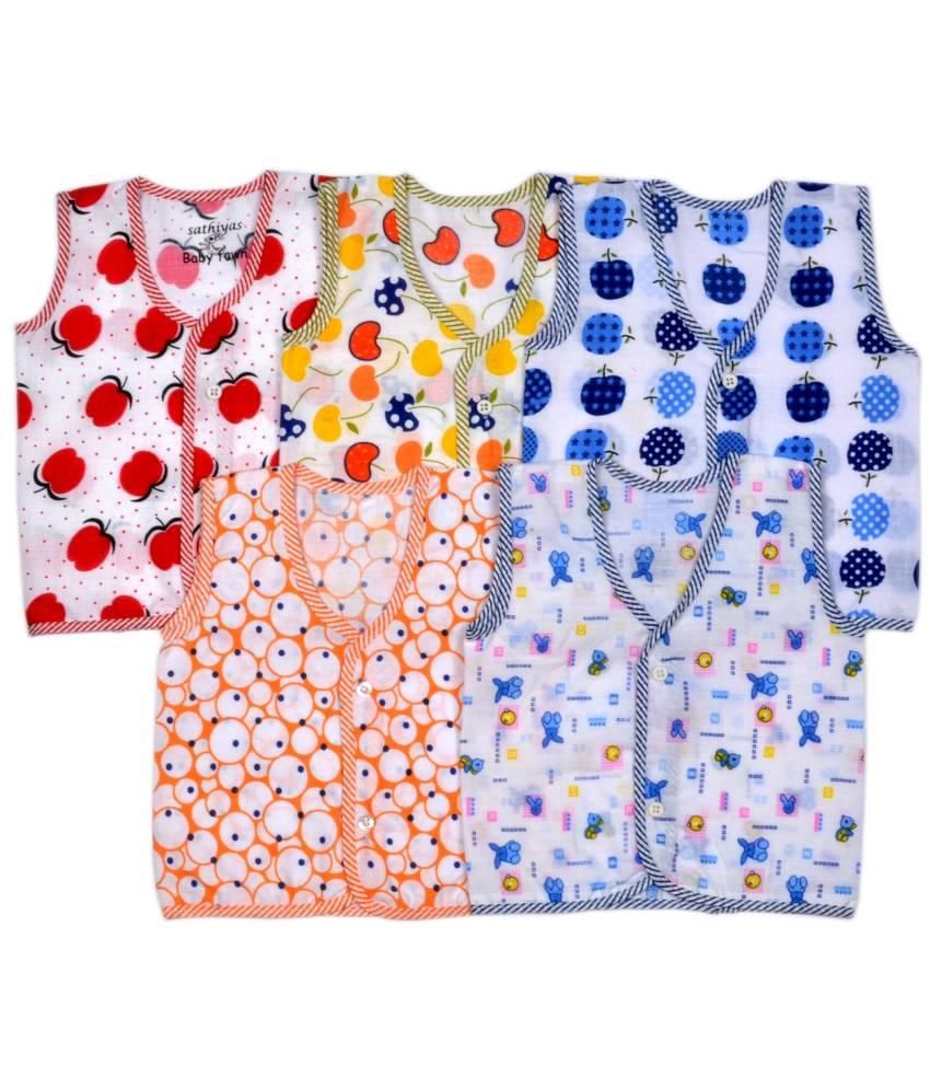 Sathya Multicolor Baby Vest With One Baby Towel - Pack Of 6