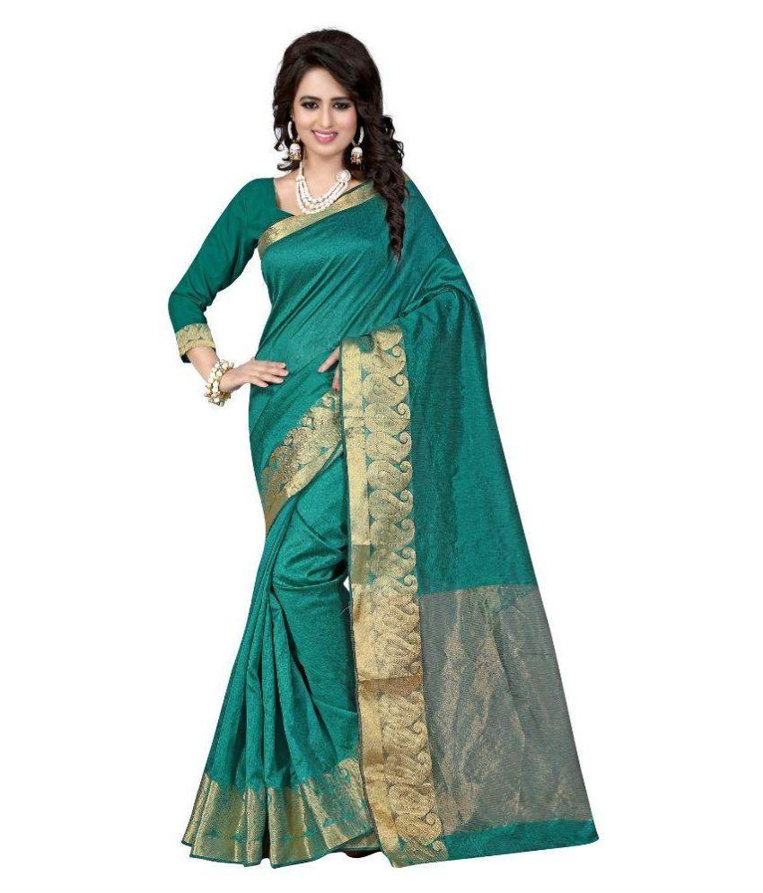 Stylefabs Green Cotton Silk Saree