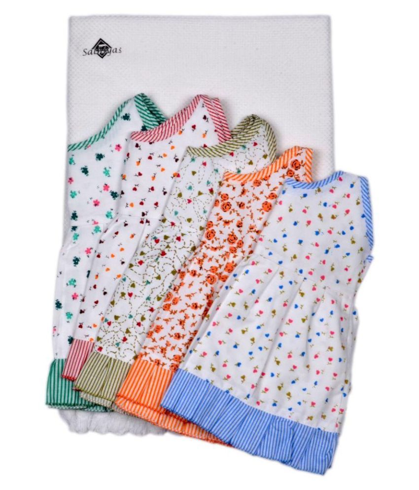 Sathya Multicolor Baby Gowns With Baby Towel For Girls - Pack of 6