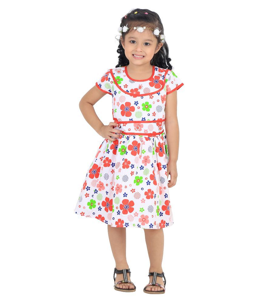 Crazeis White Cotton Frock For Girls