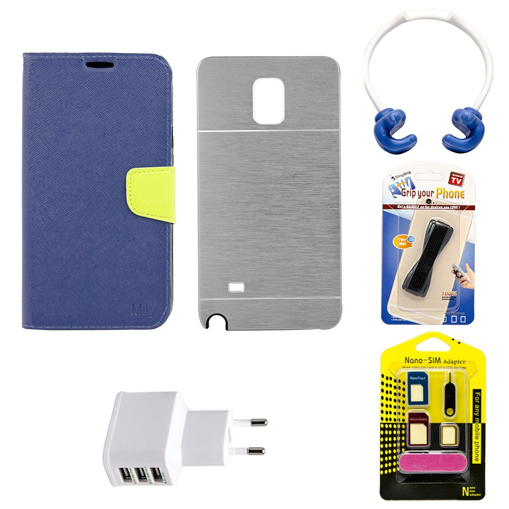 Mify Back & Flip Cover For Samsung Galaxy Note 4(GREY &Blue)With(OK Stand::sim adapter::grip your phone::charging plug)