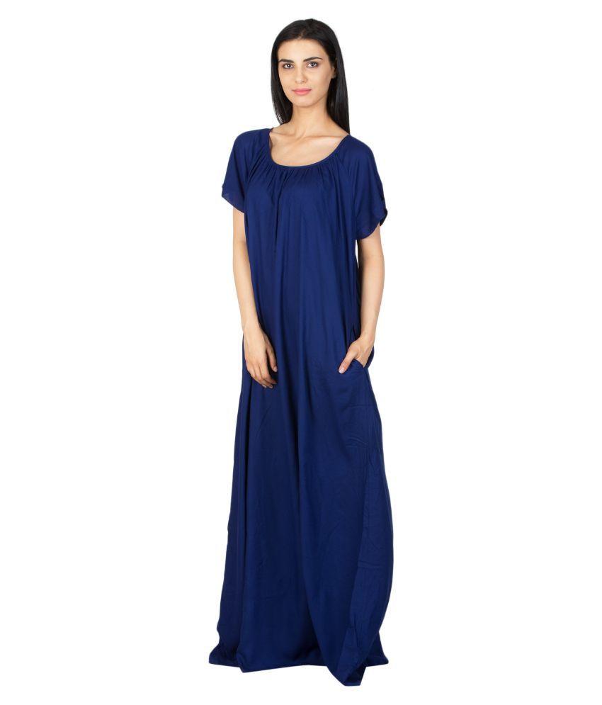 Patrorna Navy Viscose Nighty & Night Gowns