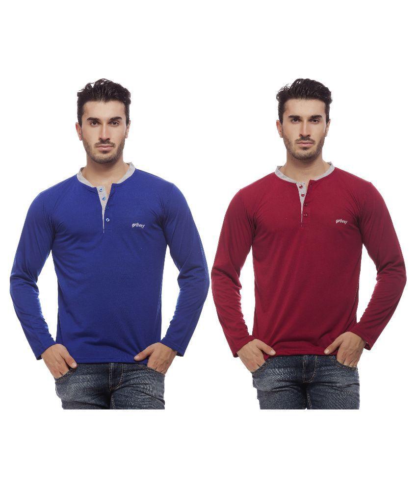 Grovey Multi Henley T Shirt Pack of 2