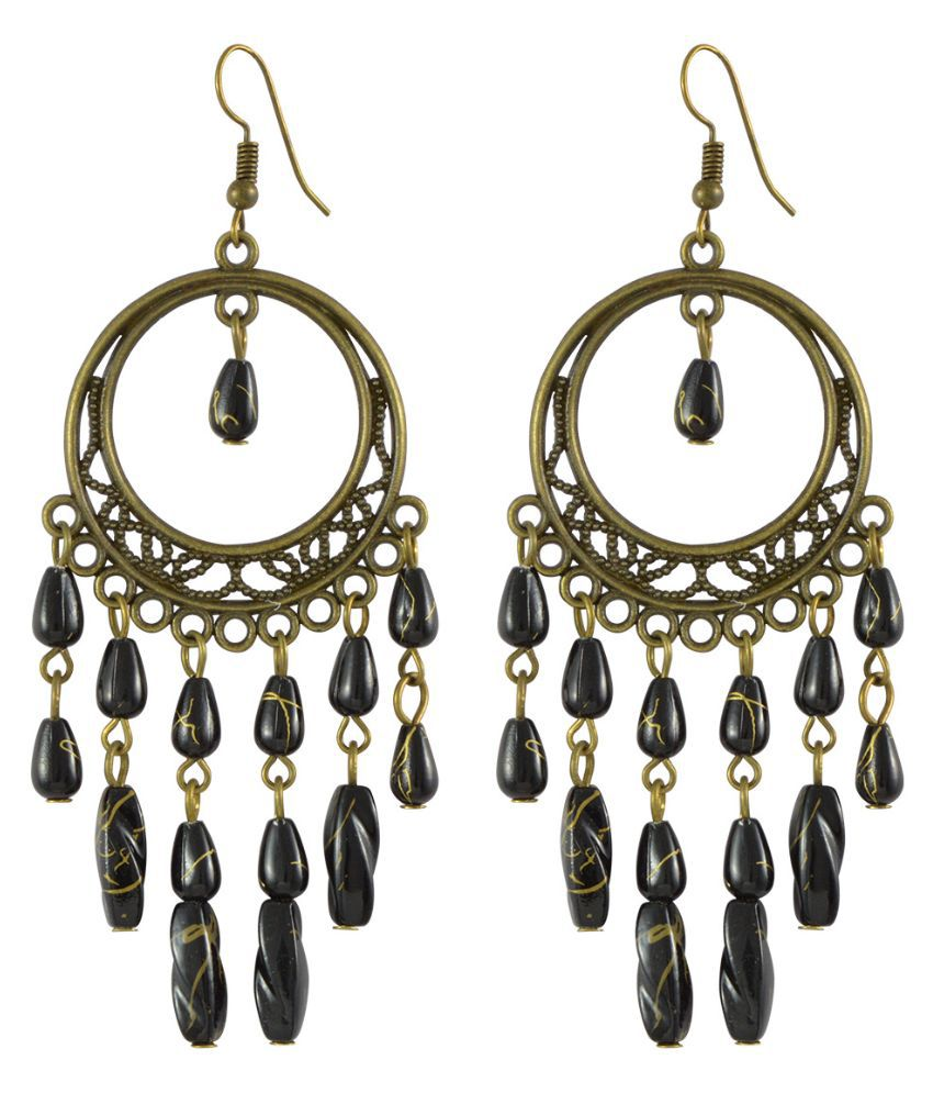 Sarah Alloy Studded Black Coloured Earrings
