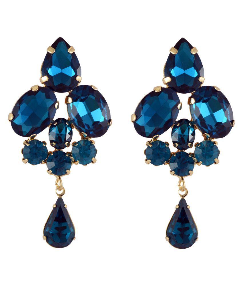 Sarah Alloy Studded Blue Coloured Earrings