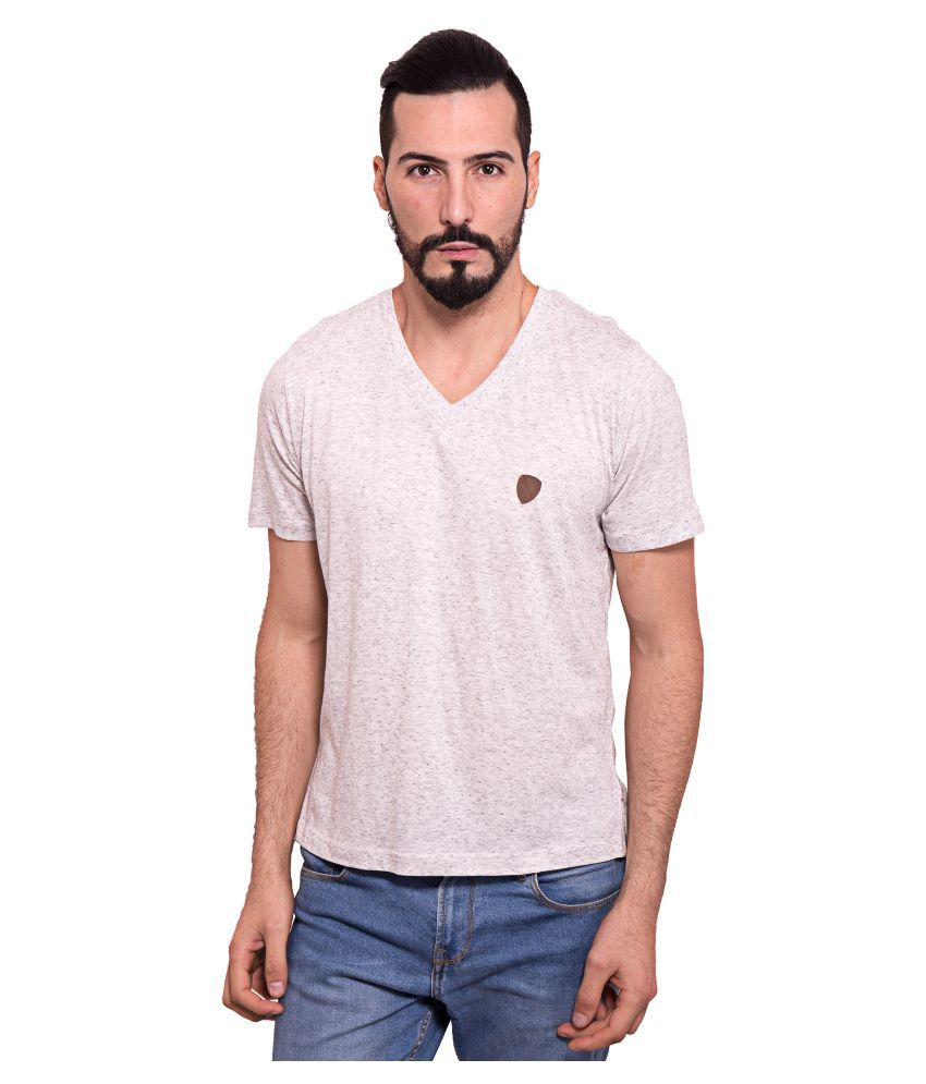 Dapple Grey Beige V-neck T Shirt