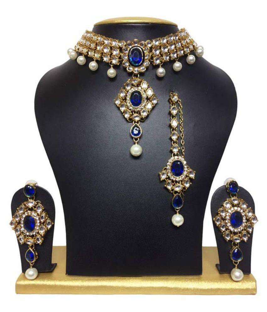 Sewad Alloy Gold Plating Studded Blue Coloured Necklaces Set