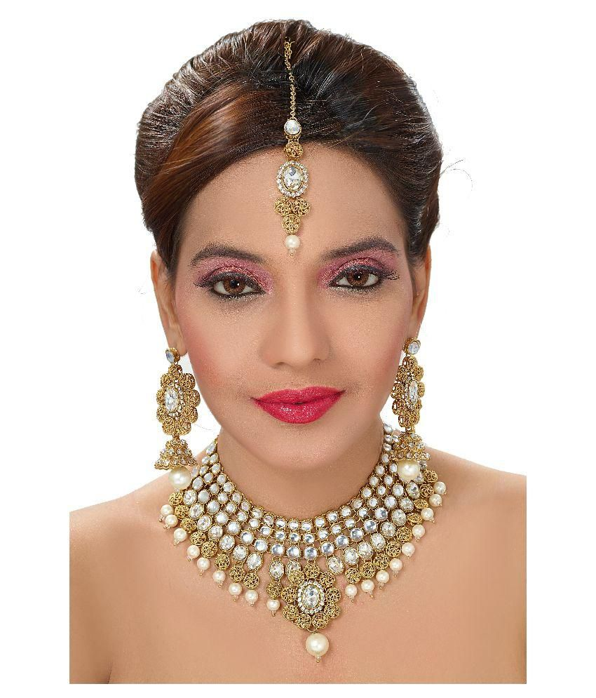 Sewad Gold Plated Kundan Bridal Designer Necklace Set With Maang Tika