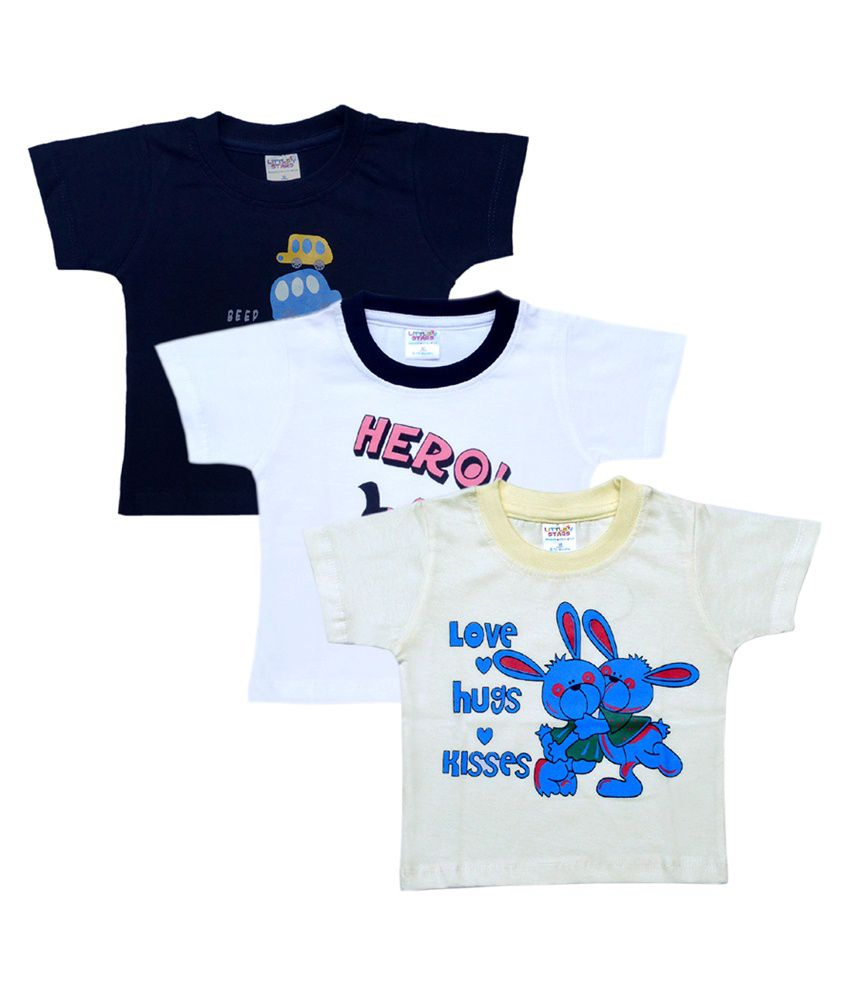 Little Stars Multicolour Cotton T Shirts - Pack of 3