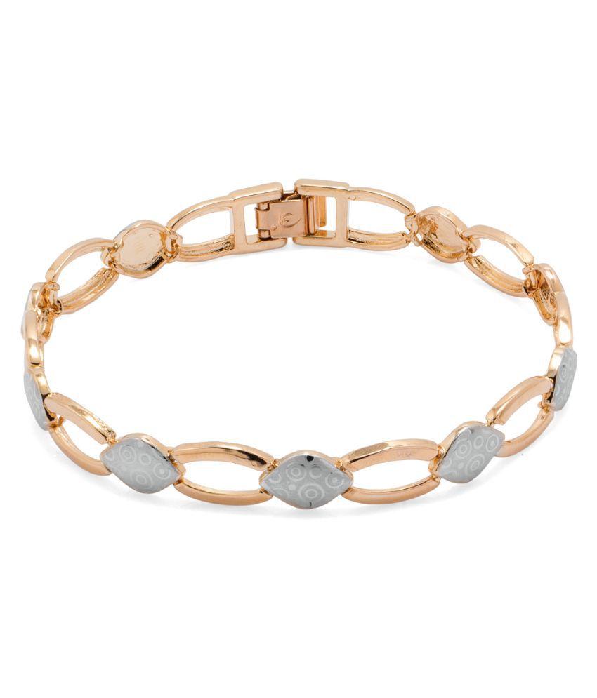 Voylla Alloy Gold Plating Crystal Studded Gold Coloured Bracelet