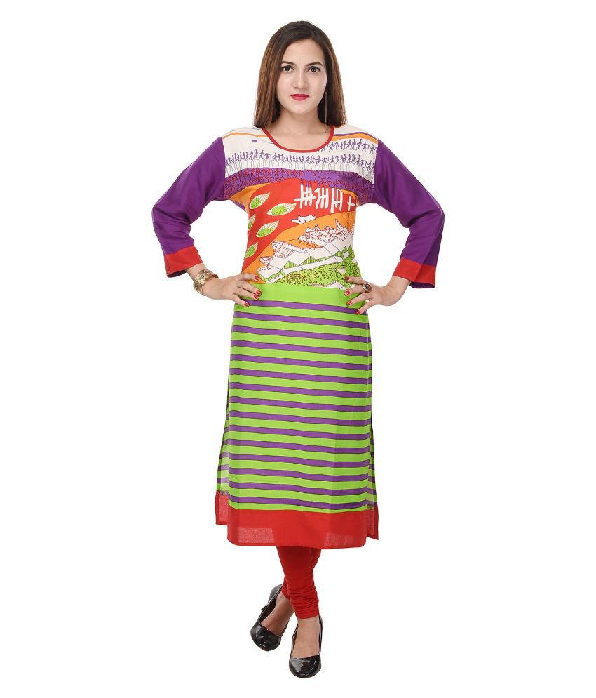 Colour Cluster Multicoloured Rayon Straight Kurti