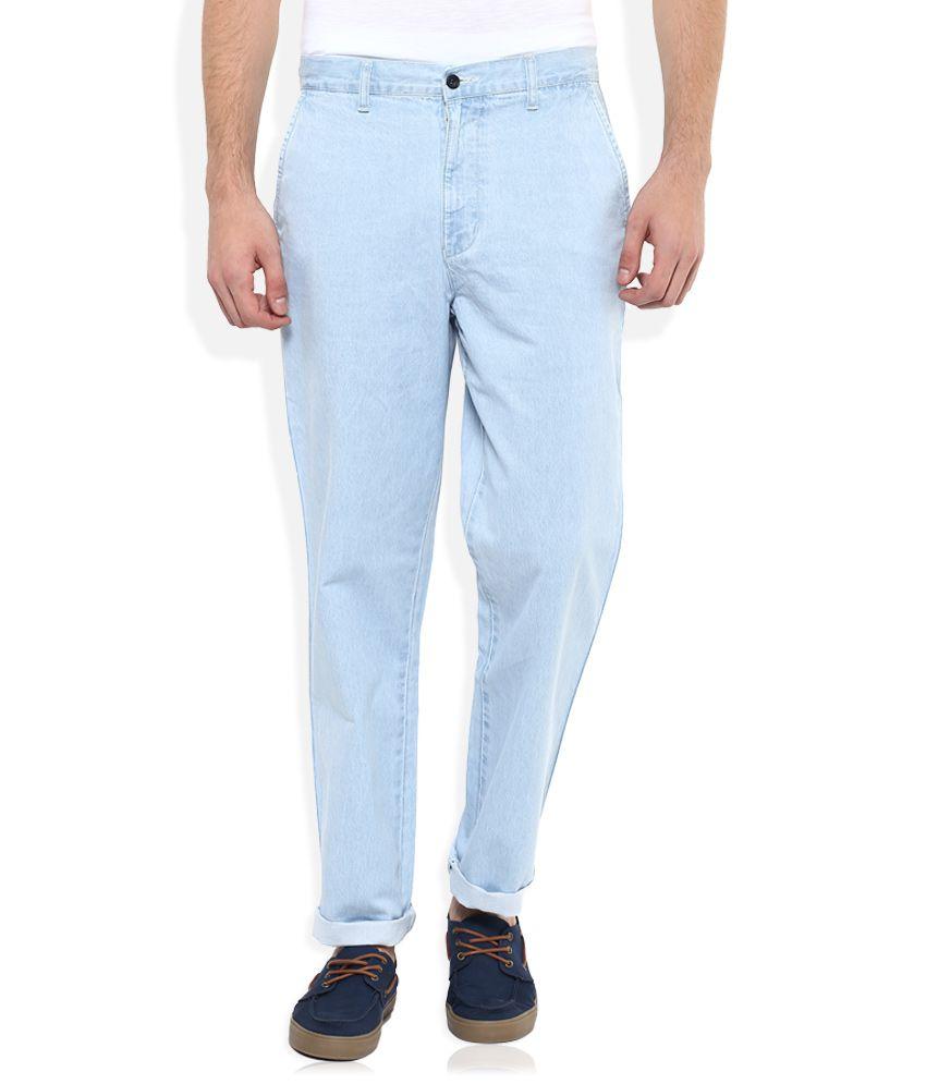 Parx Blue Regular Fit Solid Jeans