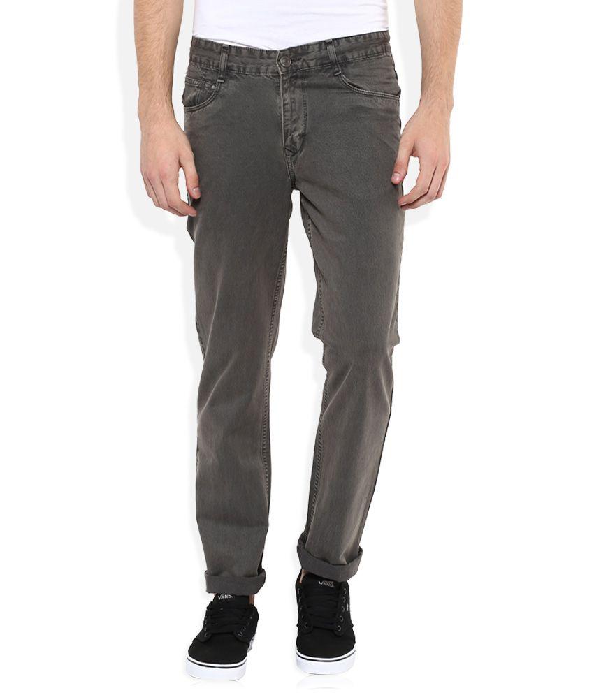 Parx Grey Regular Fit Solid Jeans