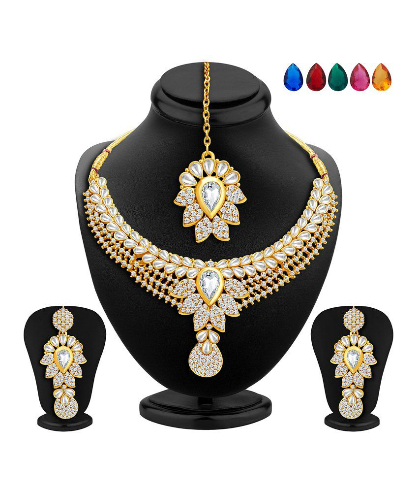 Sukkhi Gold Plated AD Necklace Set with Maang Tika & 5 Interchangeable Stones