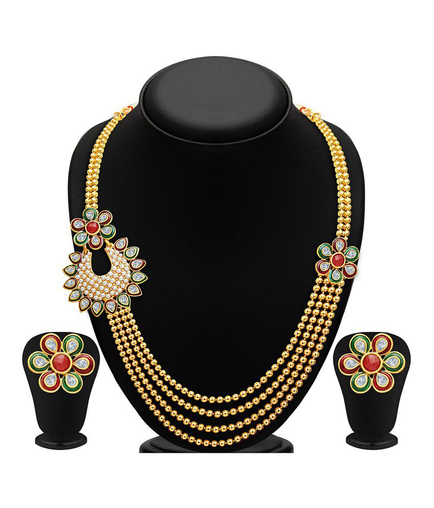 Sukkhi Gold Plated Four Strings Crystal Necklace Set