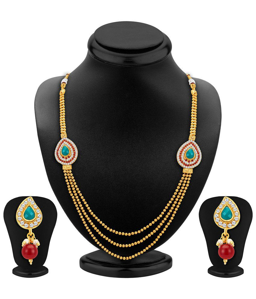 Sukkhi Gold Plated Three Strings Crystal Necklace Set