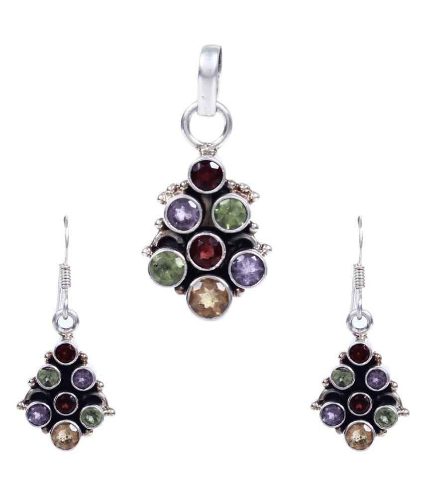 Silverwala 92.5 Silver Garnet Necklace Set