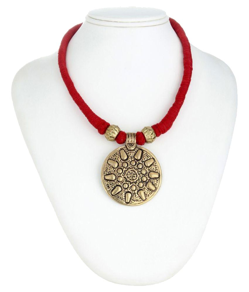 Tribes India Red Brass Necklace Set