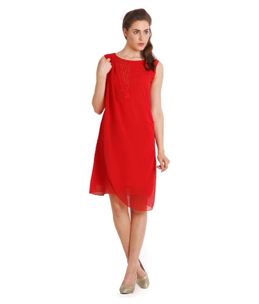 Soie Red Georgette Dresses