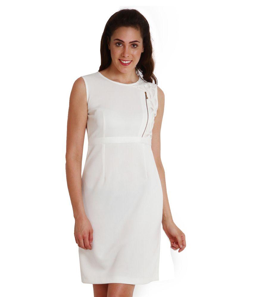 Soie White Polyester Mini