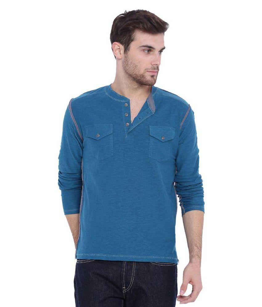 Arise By Beroe Blue Henley T Shirt