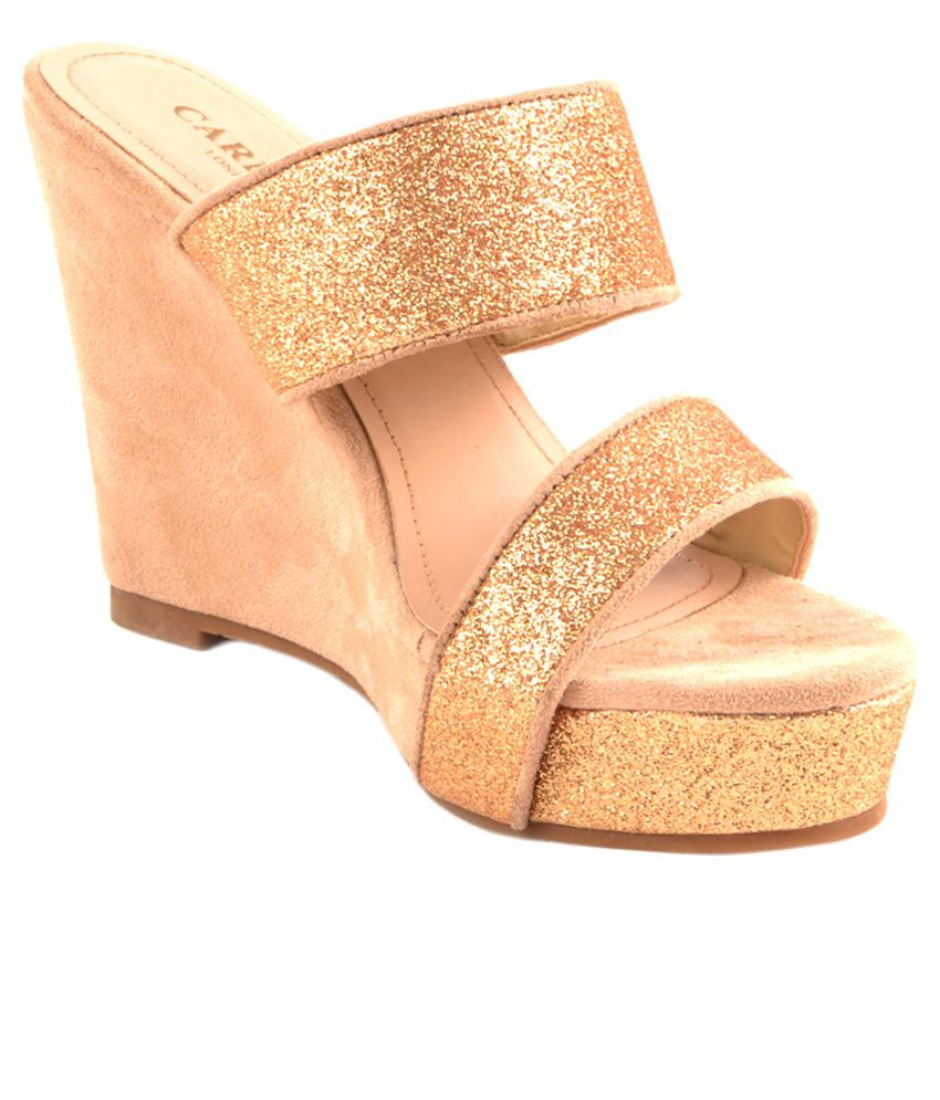 83c3900d63 Carlton London Gold Wedges Heels Price in India- Buy Carlton London Gold  Wedges Heels Online at Snapdeal