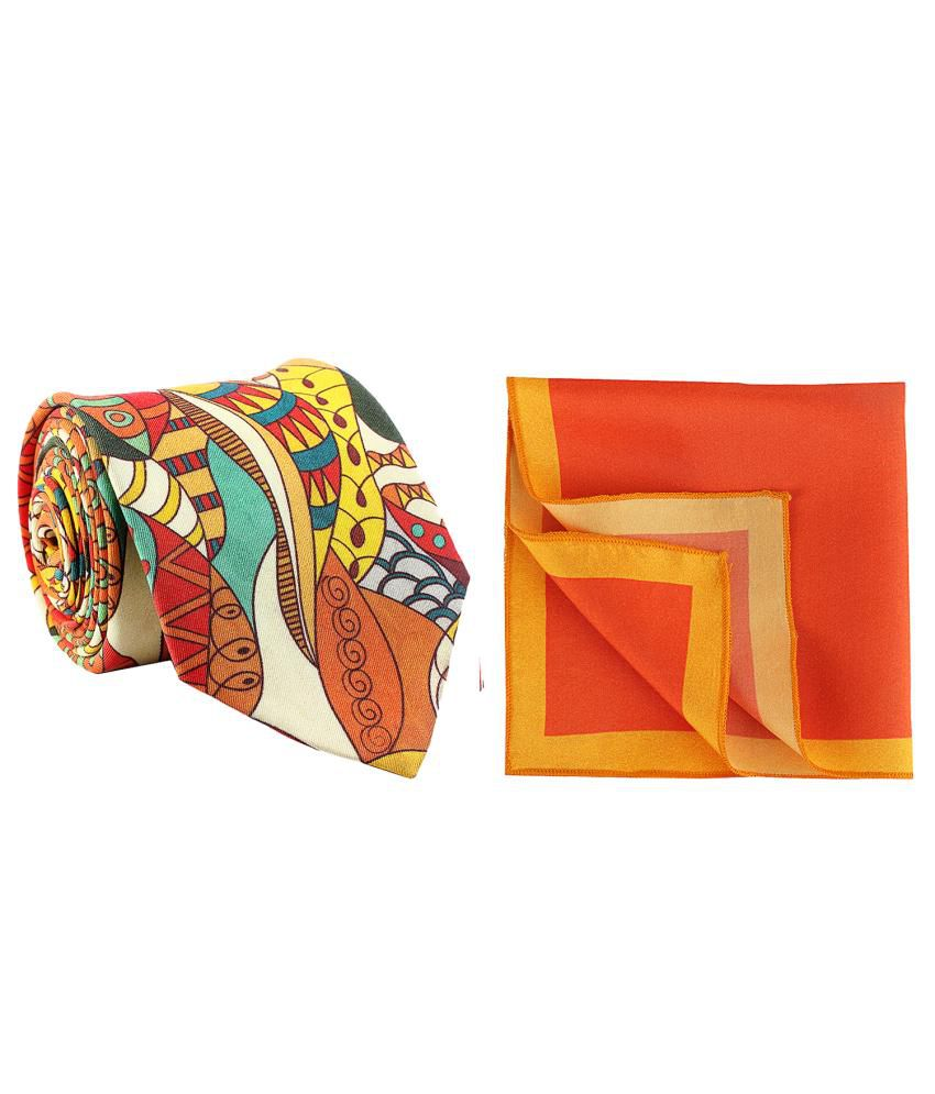 Chokore Multicolour Silk Tie with Pocket Square