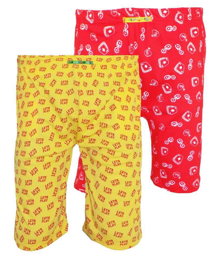 Fashionable Multicolour Cotton Shorts - Set of 2