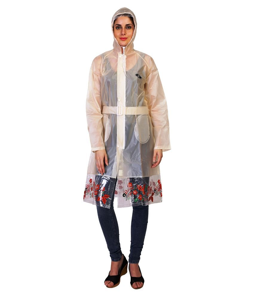 Zeel Peach Solid And Printed Raincoat  For Women
