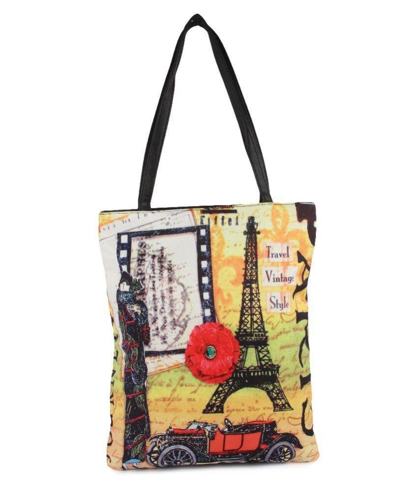 Zoe Makhoa Multi Color Canvas Tote Bag