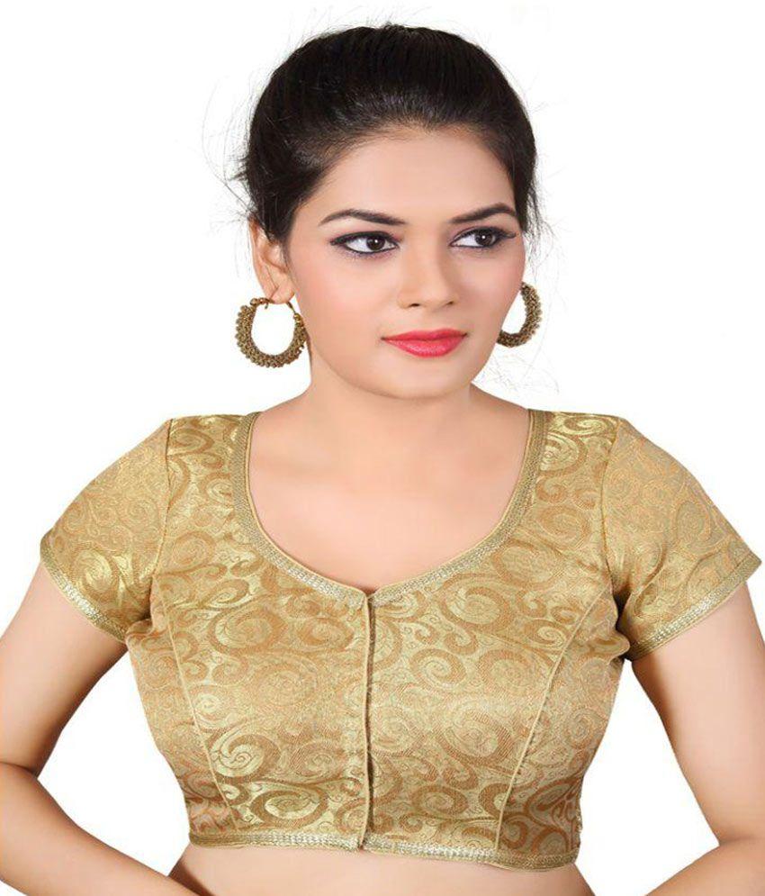 Atulya Designer Gold Square Shape Back Blouse