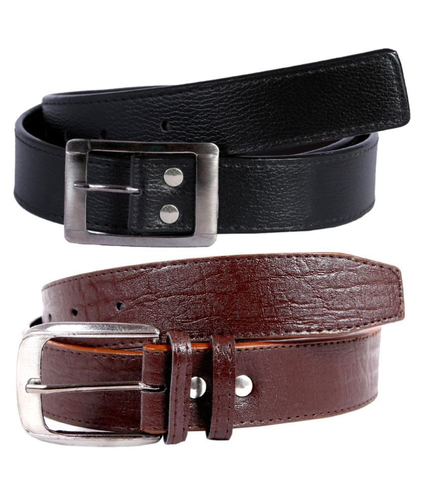 Kritika World Multicolour Casual Belt for Men - Pack of 2
