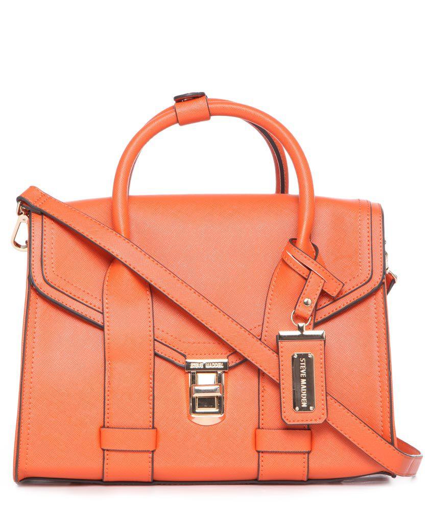 Steve Madden Orange Synthetic Satchel Bag