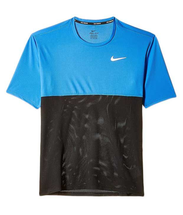 Nike Black and Blue Round Neck Polyester T-Shirt for Men