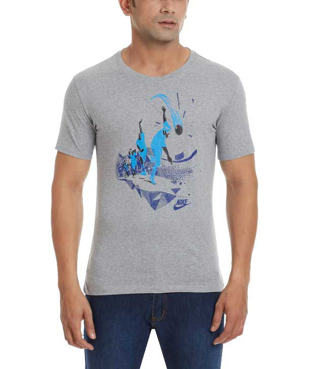 Nike Grey Round Neck Cotton T-Shirt for Men