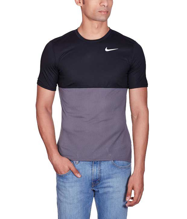 Nike Navy Polyester Round Neck T-Shirt for Men