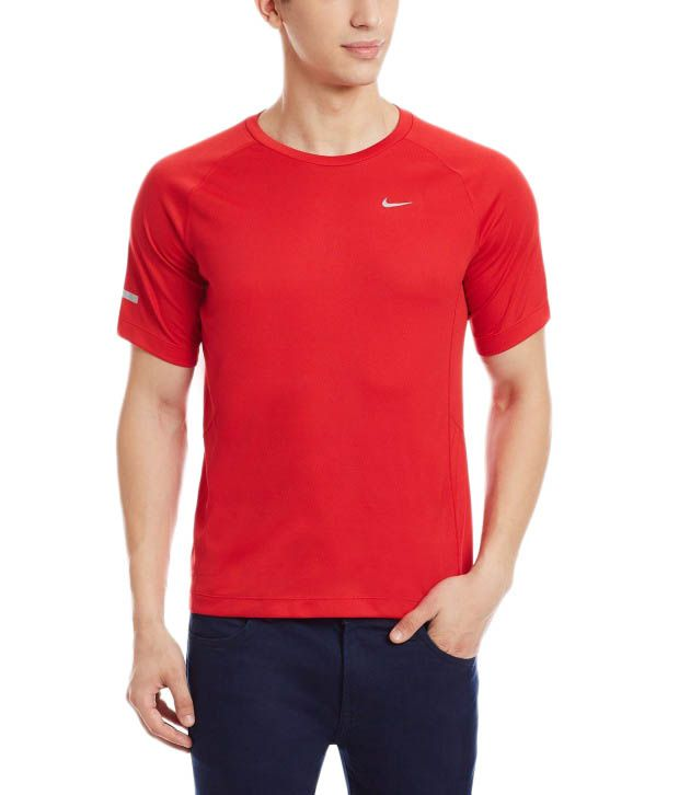 Nike Red Round Neck Polyester T-Shirt for Men