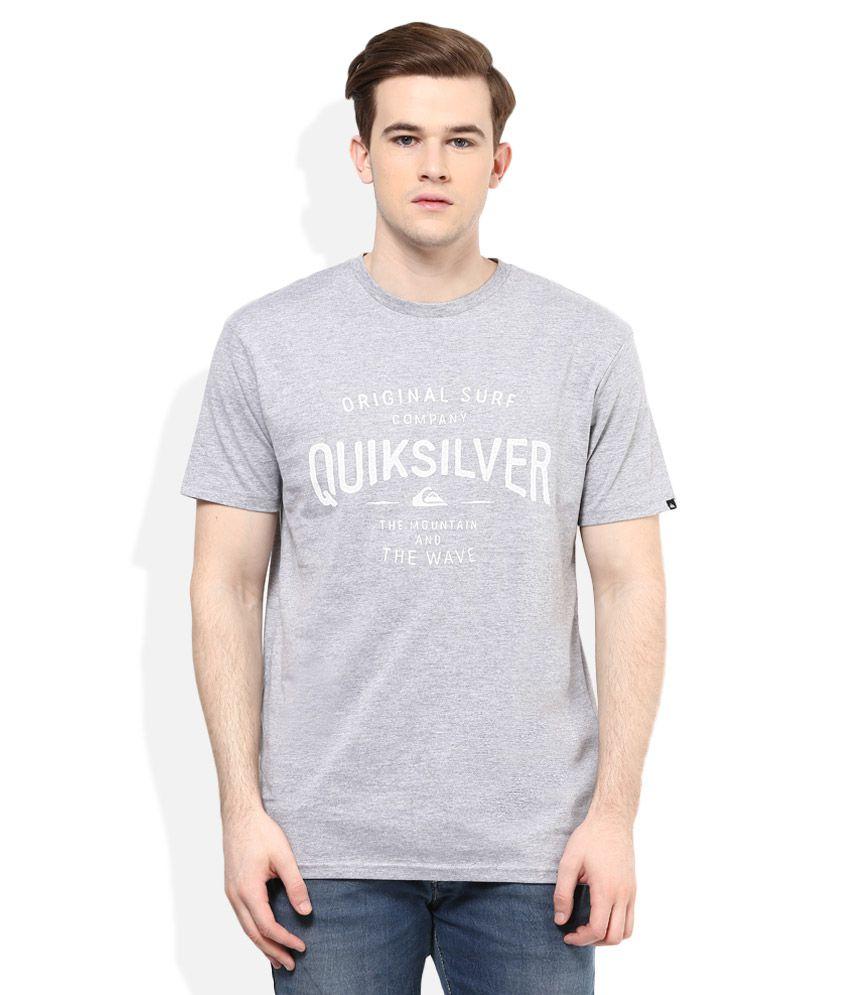 Quiksilver Grey Printed Regular Fit T-Shirt