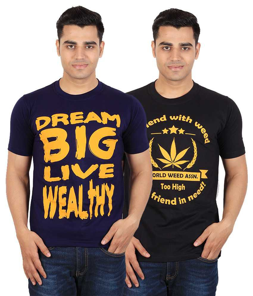 Tymstyle Black Dream big & Weed in need Printed Cotton Round Neck Half Sleeves T-Shirts - Pack of 2