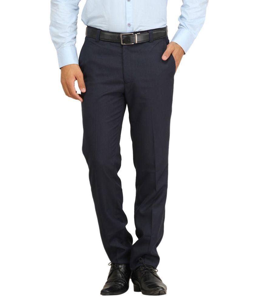 Jss Fashions Blue Regular Fit Flat Trousers