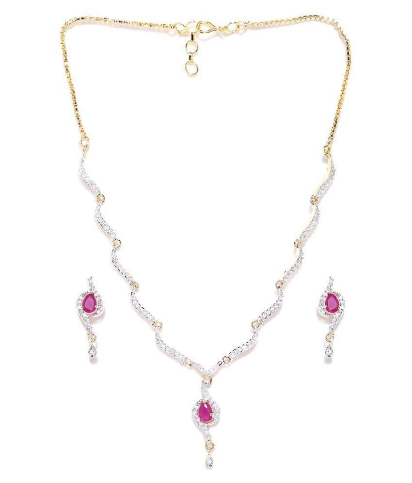 Zaveri Pearls White Necklace Set